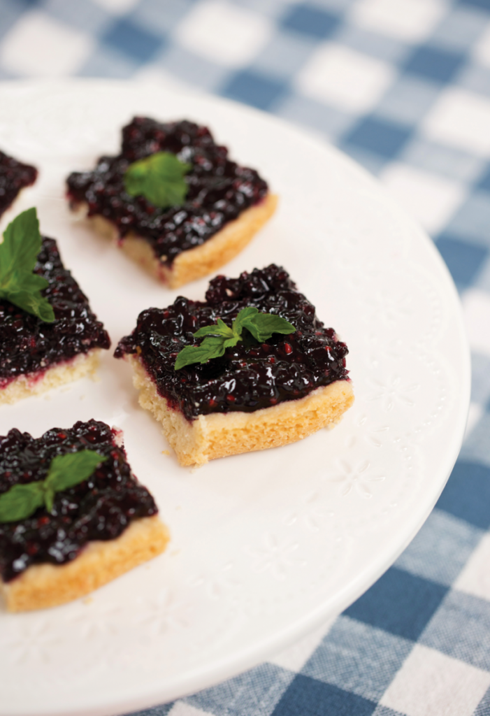 Blackberry shortbread bars