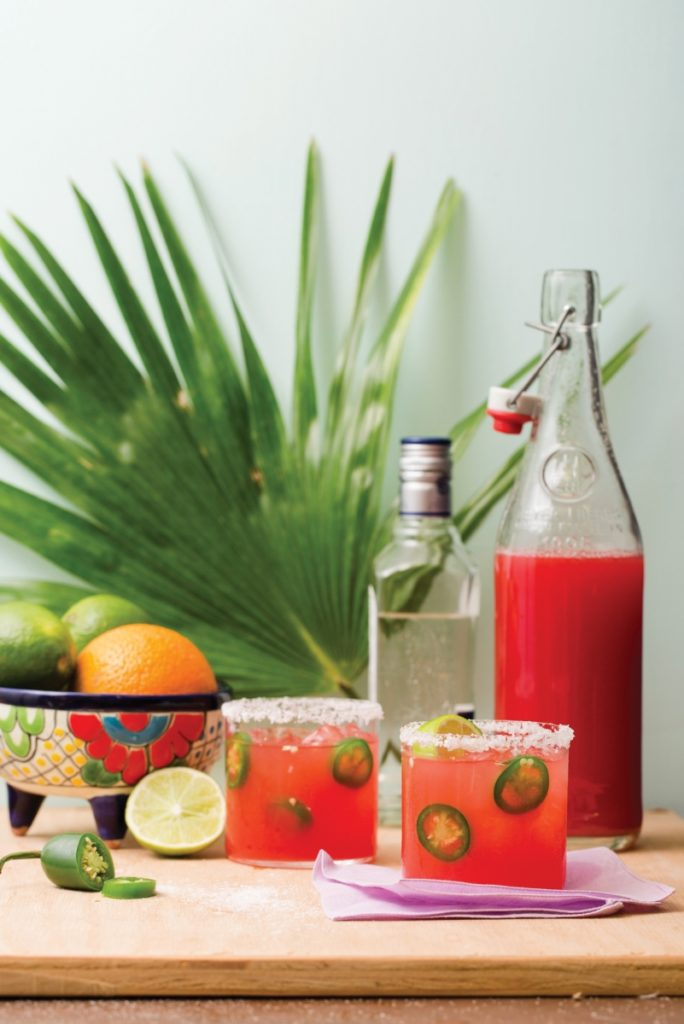 two glasses of jalapeno watermelon margarita cocktails