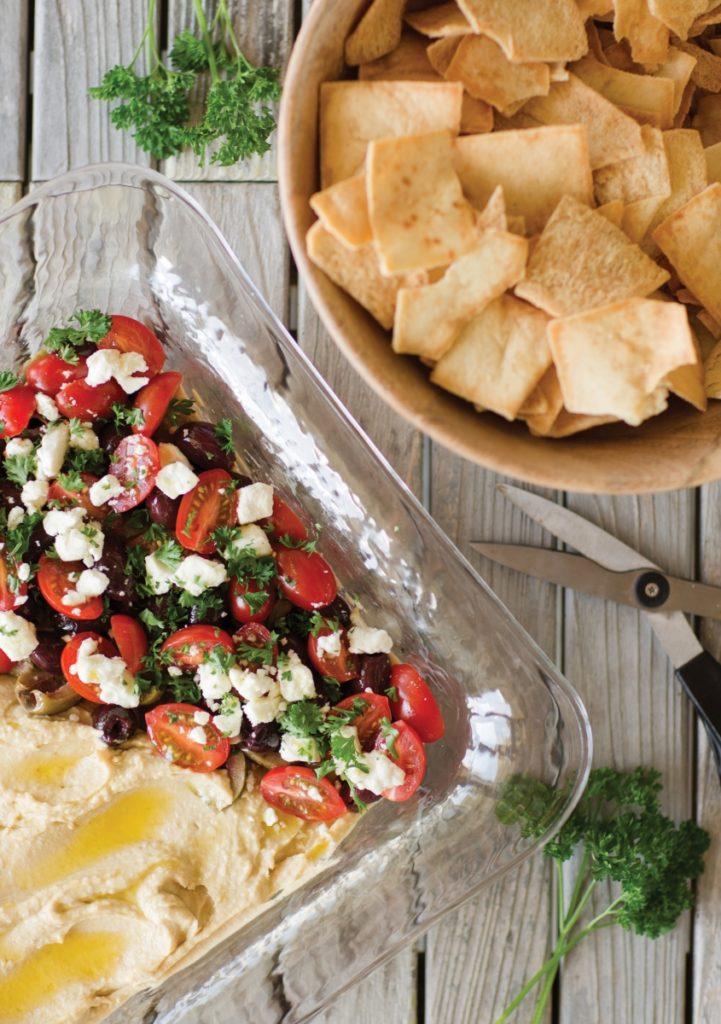 Mediterranean hummus and pita chips